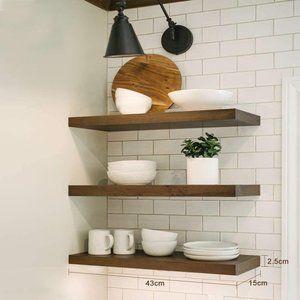 New Rustic Wood Floating Shelves Set of 3